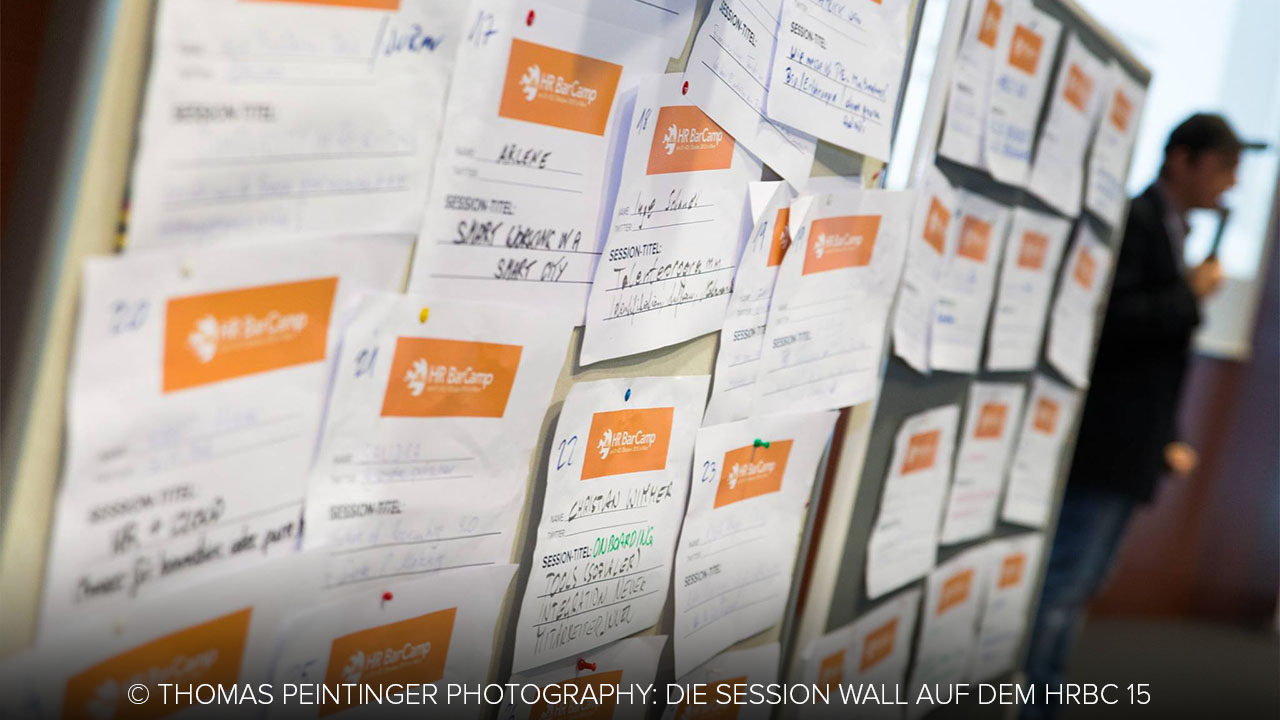 Session Wall des HR Barcamp 2015 in Wien